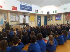 Niall de Búrca storyteller visited our school today.